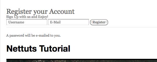 Форма реєстрації на WordPress